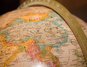 china closeup on globe